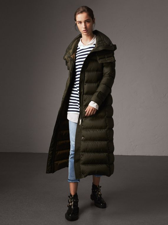 Detachable Hood Long Down-filled Puffer Coat in Olive
