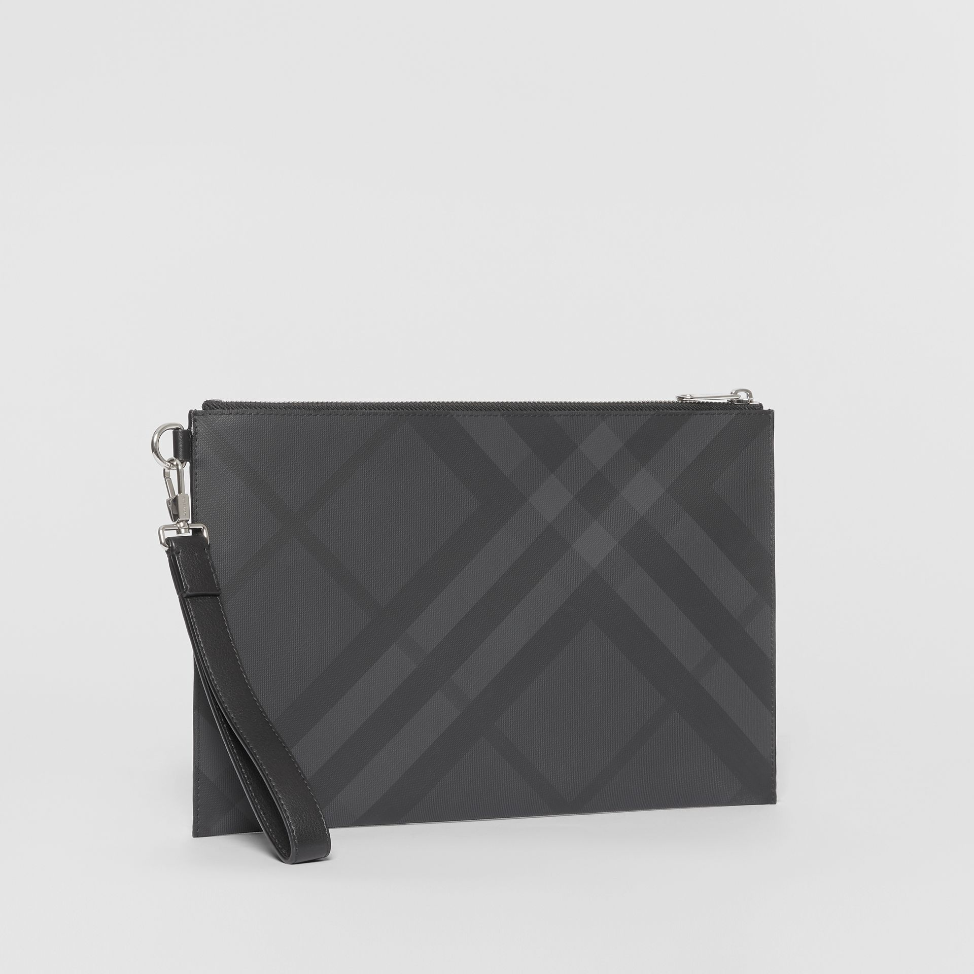 London Check and Leather Zip Pouch in Dark Charcoal - Men | Burberry United States - gallery image 5