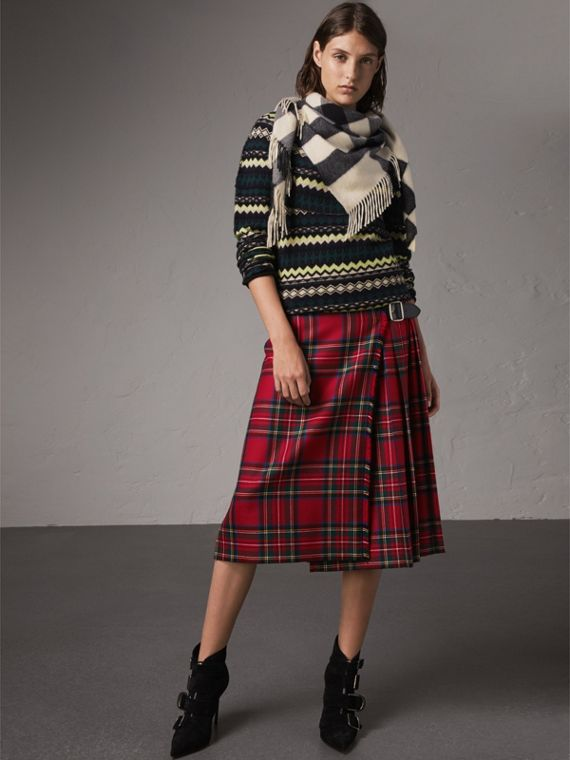 The Burberry Bandana in cashmere con motivo tartan (Bianco Naturale)