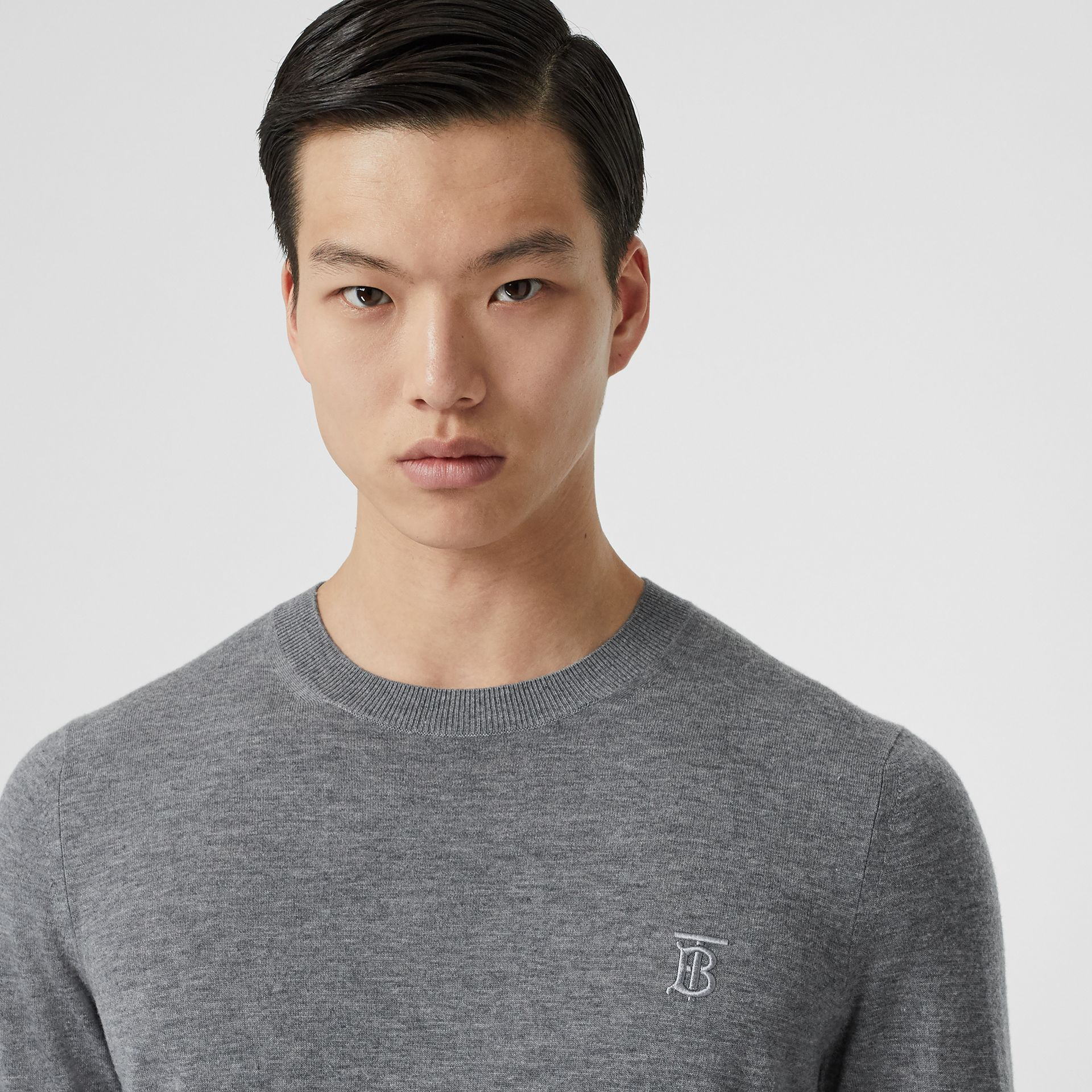 Monogram Motif Cashmere Sweater in Pale Grey Melange - Men | Burberry United Kingdom - gallery image 1