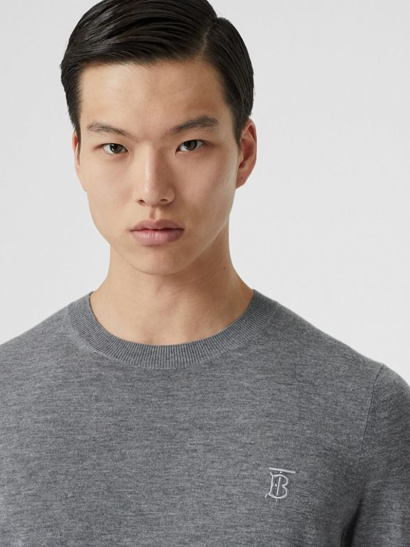 Monogram Motif Cashmere Sweater in Pale Grey Melange - Men | Burberry United Kingdom - cell image 1
