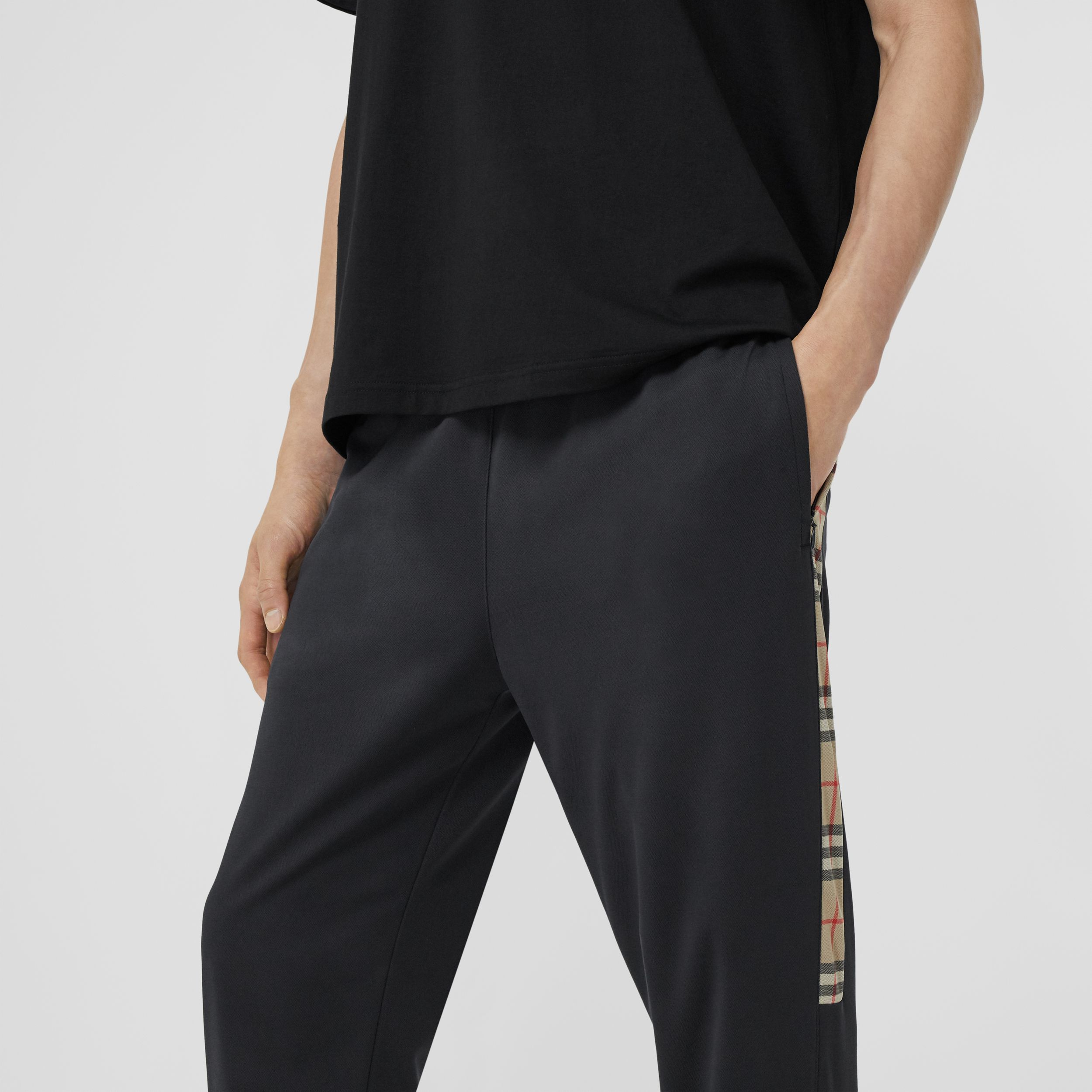 Vintage Check Detail Technical Twill Jogging Pants in Black - Men | Burberry - 2