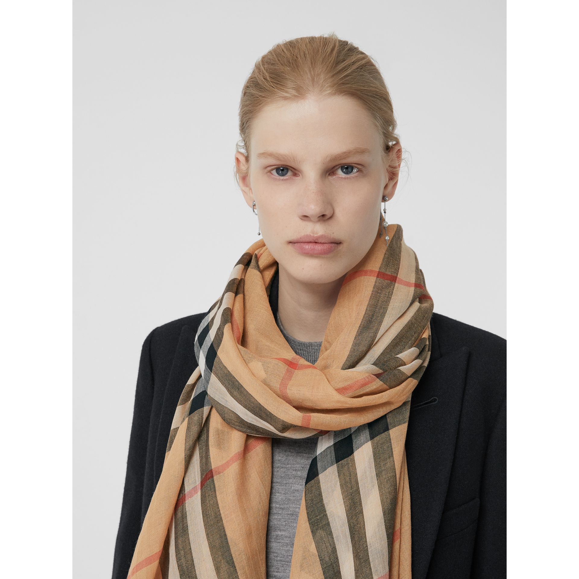 Lightweight Check Wool and Silk Scarf in Camel | Burberry - gallery image 5