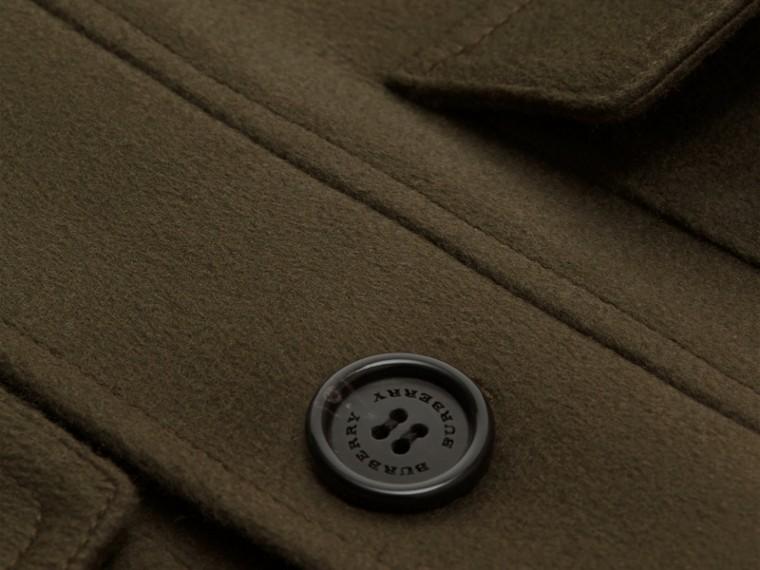 Vert sombre Veste utilitaire en cachemire avec surcol en shearling - cell image 1