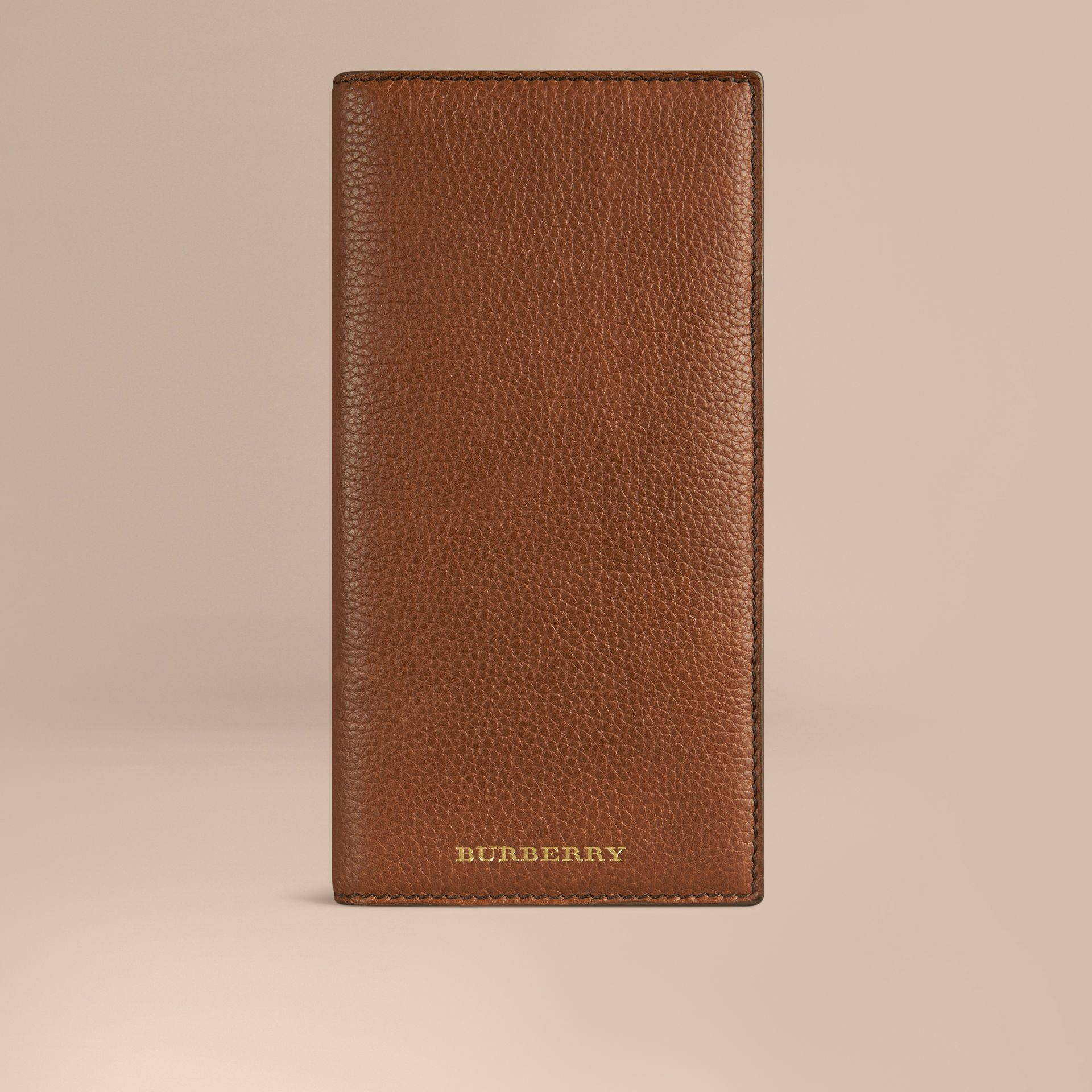 Grainy Leather Travel Card Case in Tan - gallery image 1
