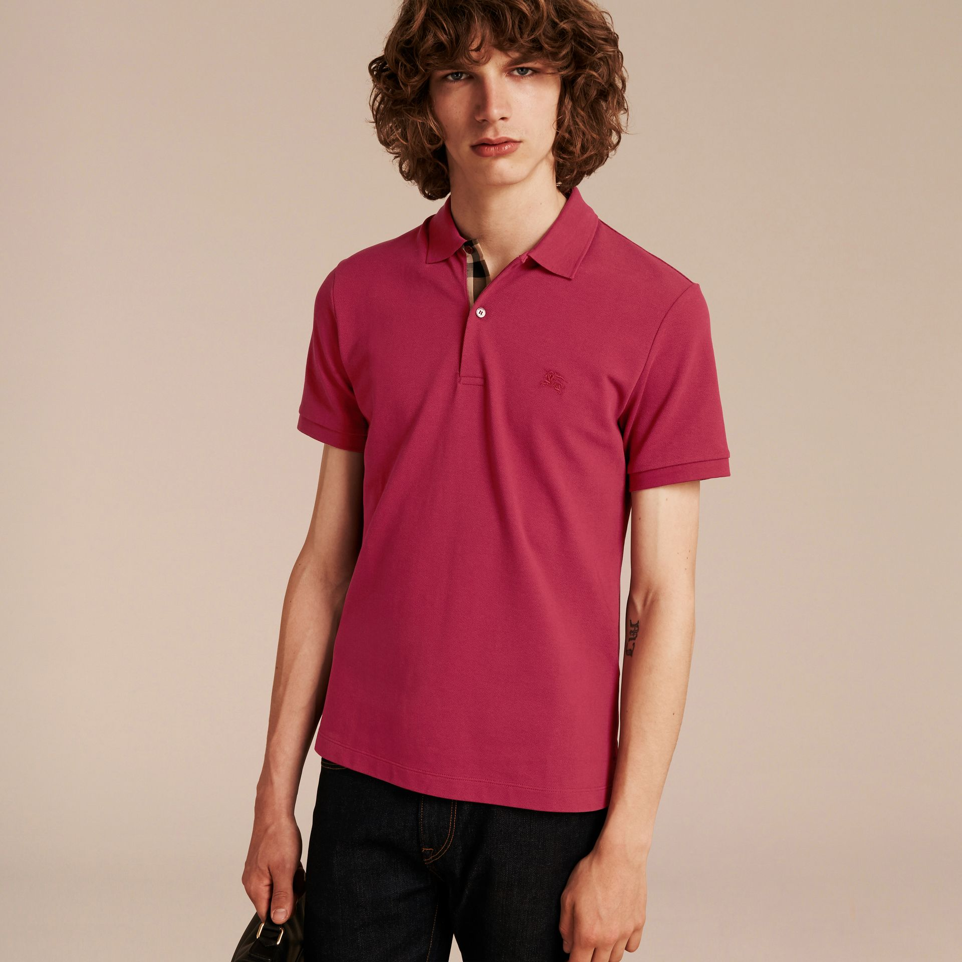 Check Placket Cotton Piqué Polo Shirt Raspberry Sorbet - gallery image 6
