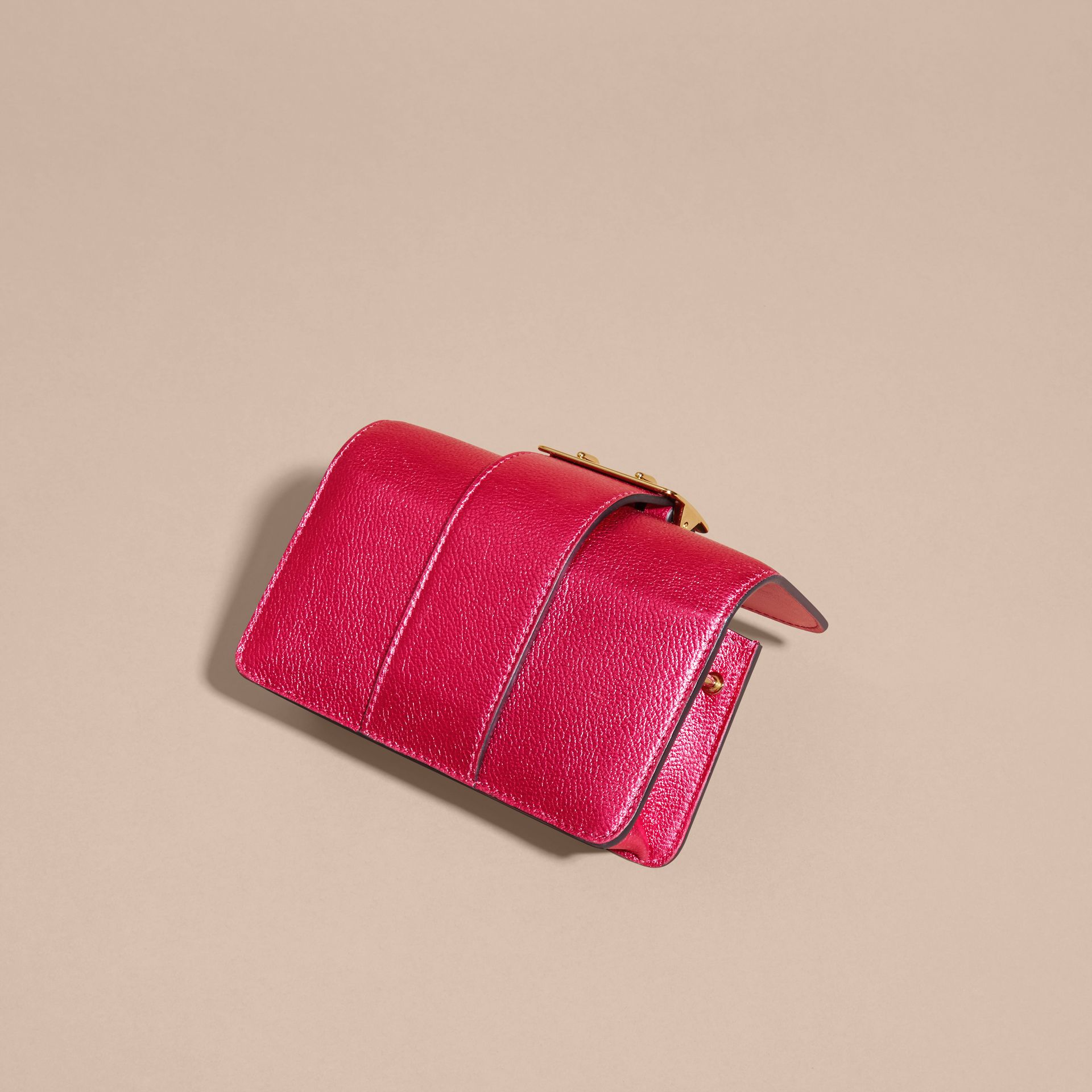 The Mini Buckle Bag in Metallic Grainy Leather in Bright Pink - gallery image 6