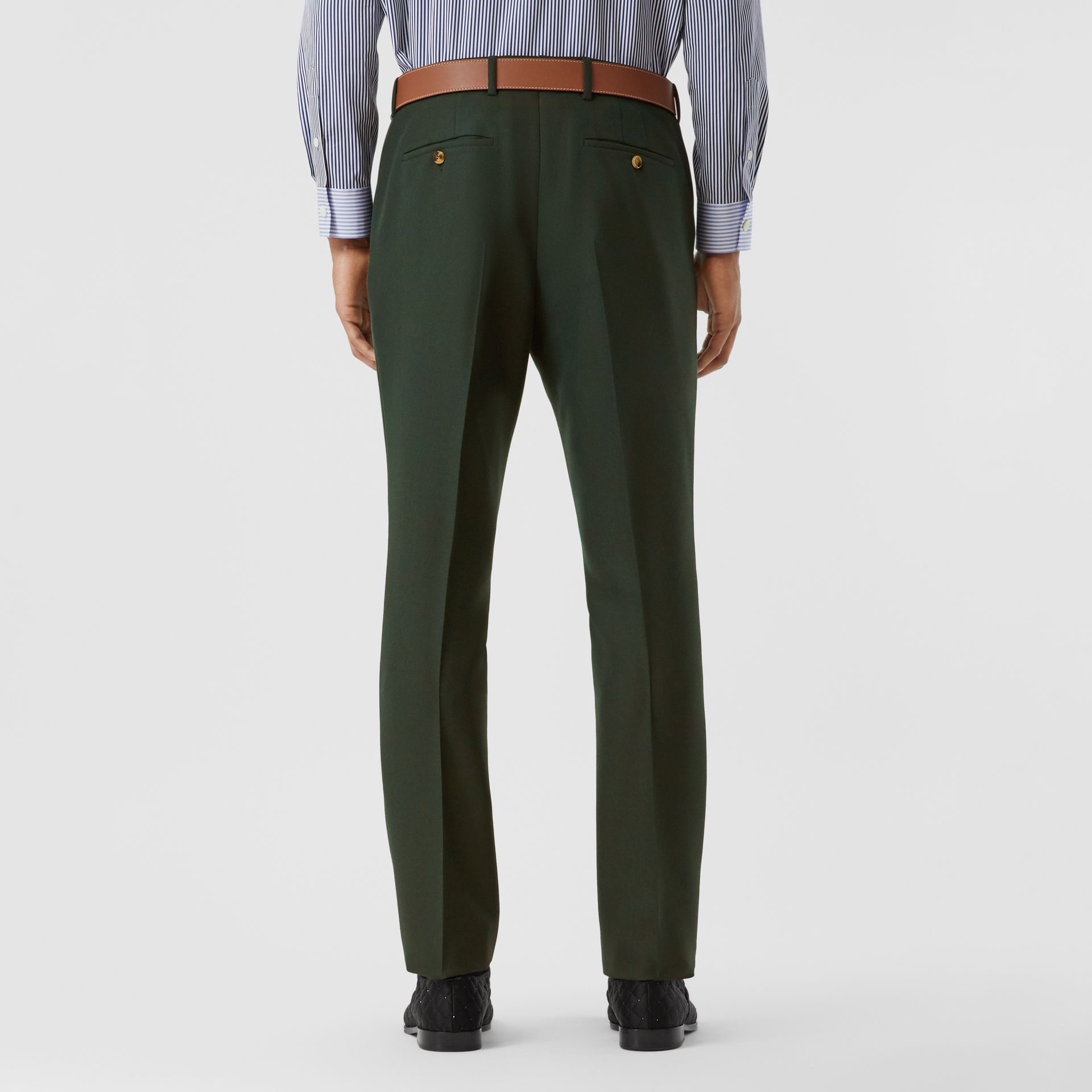 Classic Fit Wool Mohair Tailored Trousers in Dark Forest Green - Men | Burberry - gallery image 2