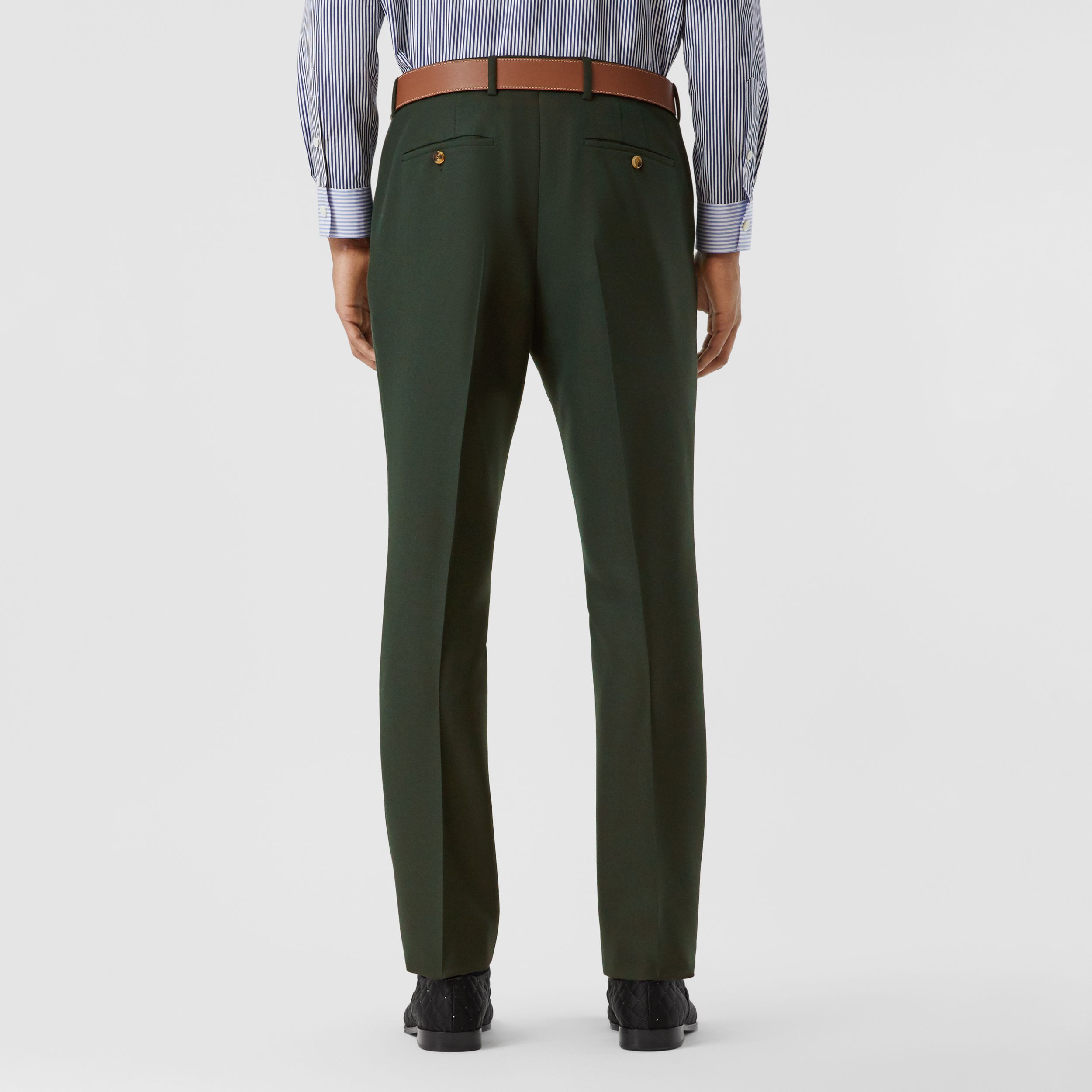 Classic Fit Wool Mohair Tailored Trousers in Dark Forest Green - Men | Burberry - 3