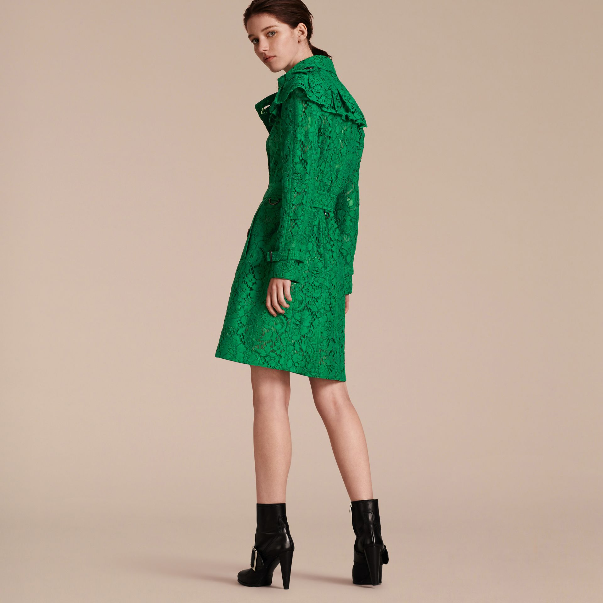 Ruffle Detail Macramé Lace Trench Coat Kelly Green - gallery image 3