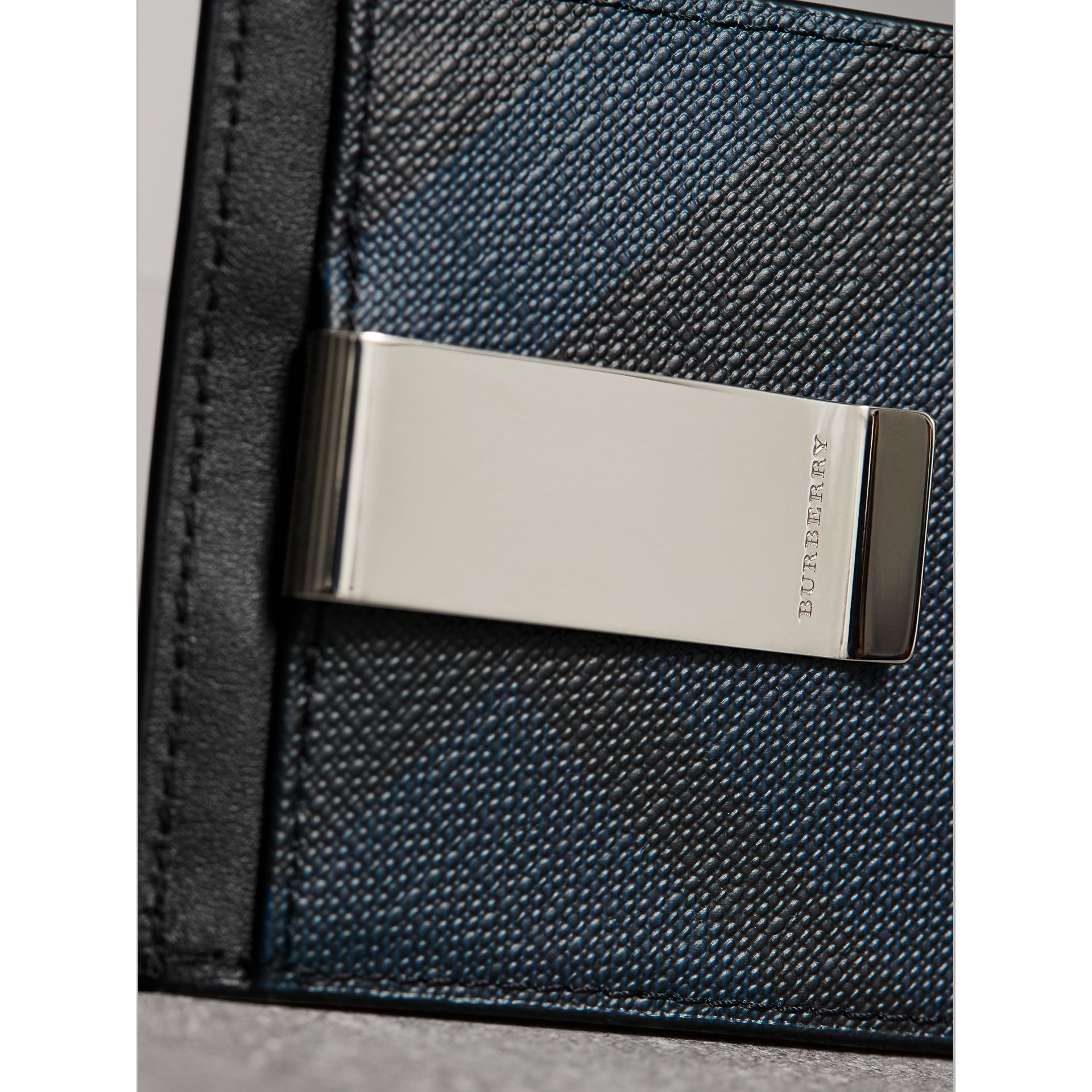 London Check Money Clip Card Case in Navy/black - Men | Burberry - gallery image 4