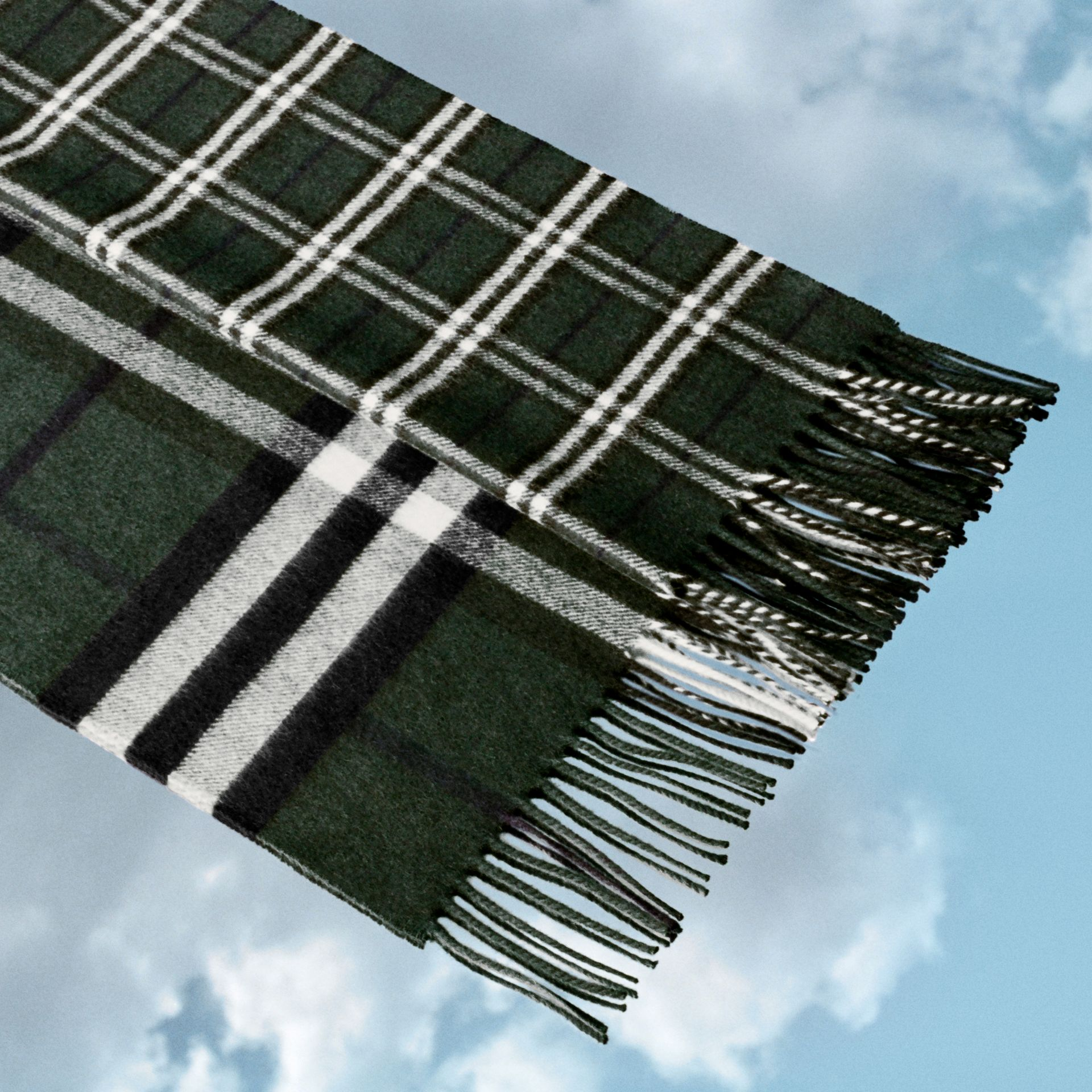 Gosha x Burberry Check Cashmere Double Scarf in Dark Forest Green | Burberry - gallery image 1