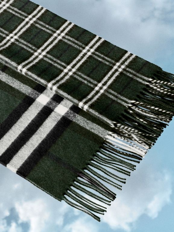 Gosha x Burberry Check Cashmere Double Scarf in Dark Forest Green | Burberry - cell image 1