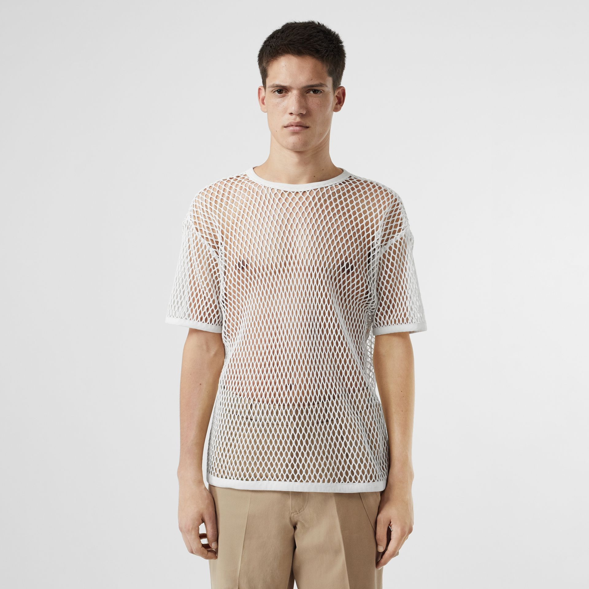 Cotton Mesh Oversized T-shirt in Optic White | Burberry Australia - gallery image 0