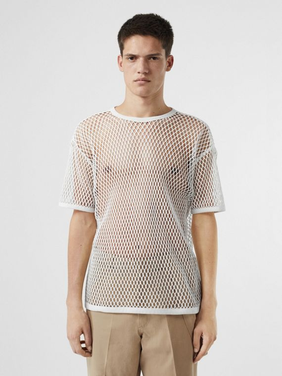 Cotton Mesh Oversized T-shirt in Optic White