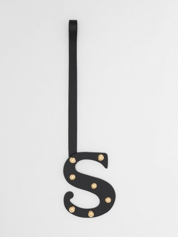 'S' Studded Leather Alphabet Charm in Black/light Gold