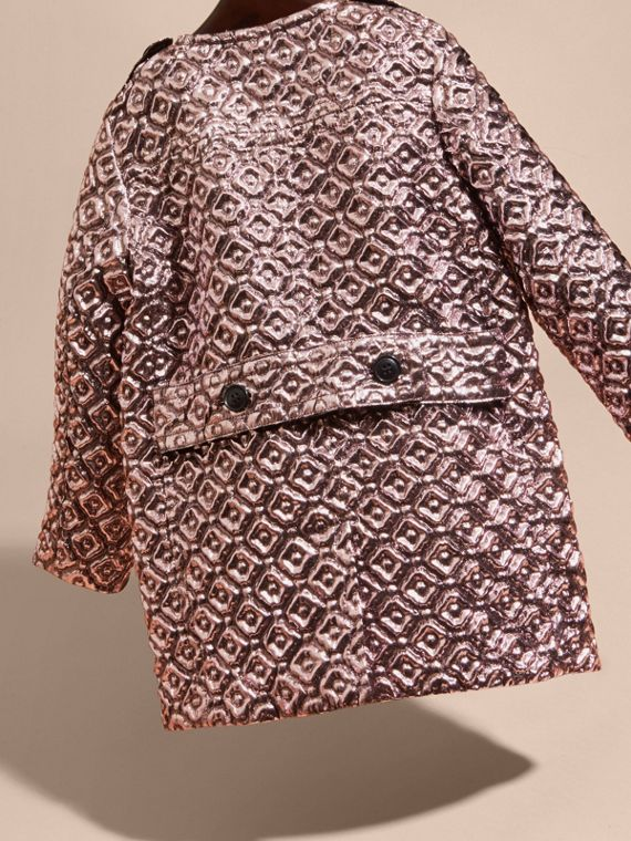 Diamond Matelassé Cocoon Coat in Pale Ash Rose - cell image 3