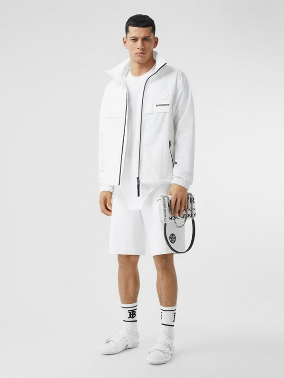 Globe Graphic Shape-memory Taffeta Jacket in Optic White