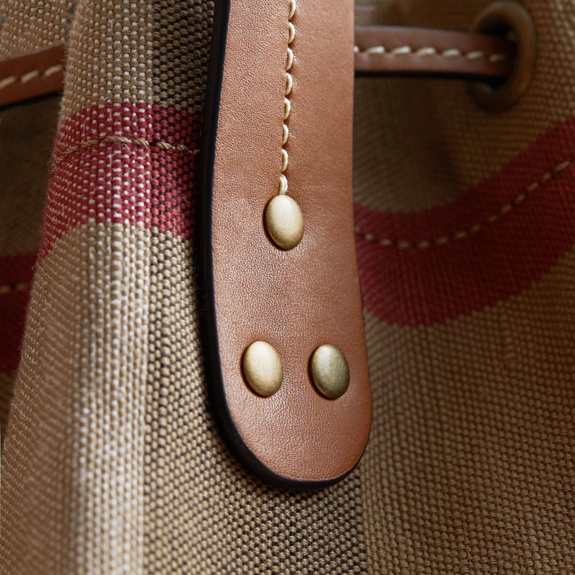 Canvas Check Bucket Bag - gallery image 6
