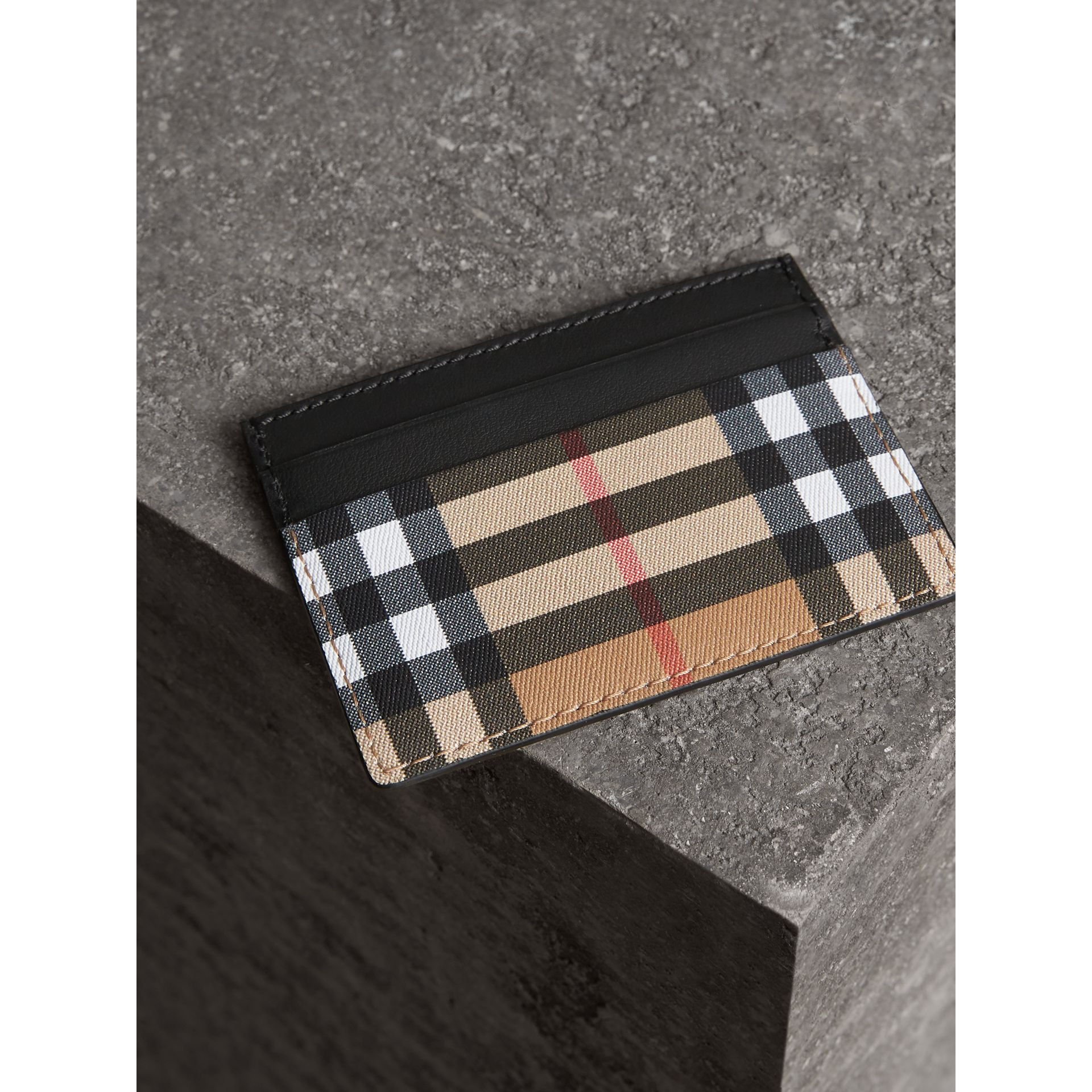 Vintage Check Leather Card Case in Black | Burberry United States - gallery image 2