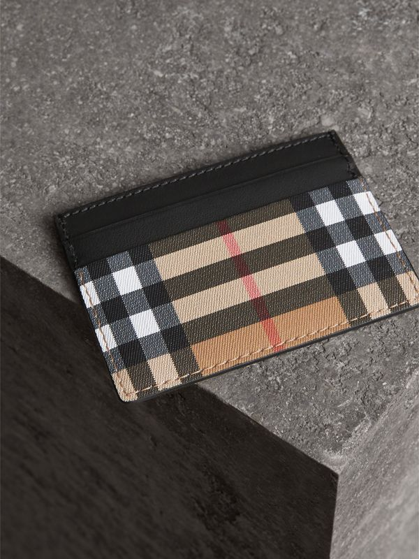 Vintage Check Leather Card Case in Black | Burberry United States - cell image 2
