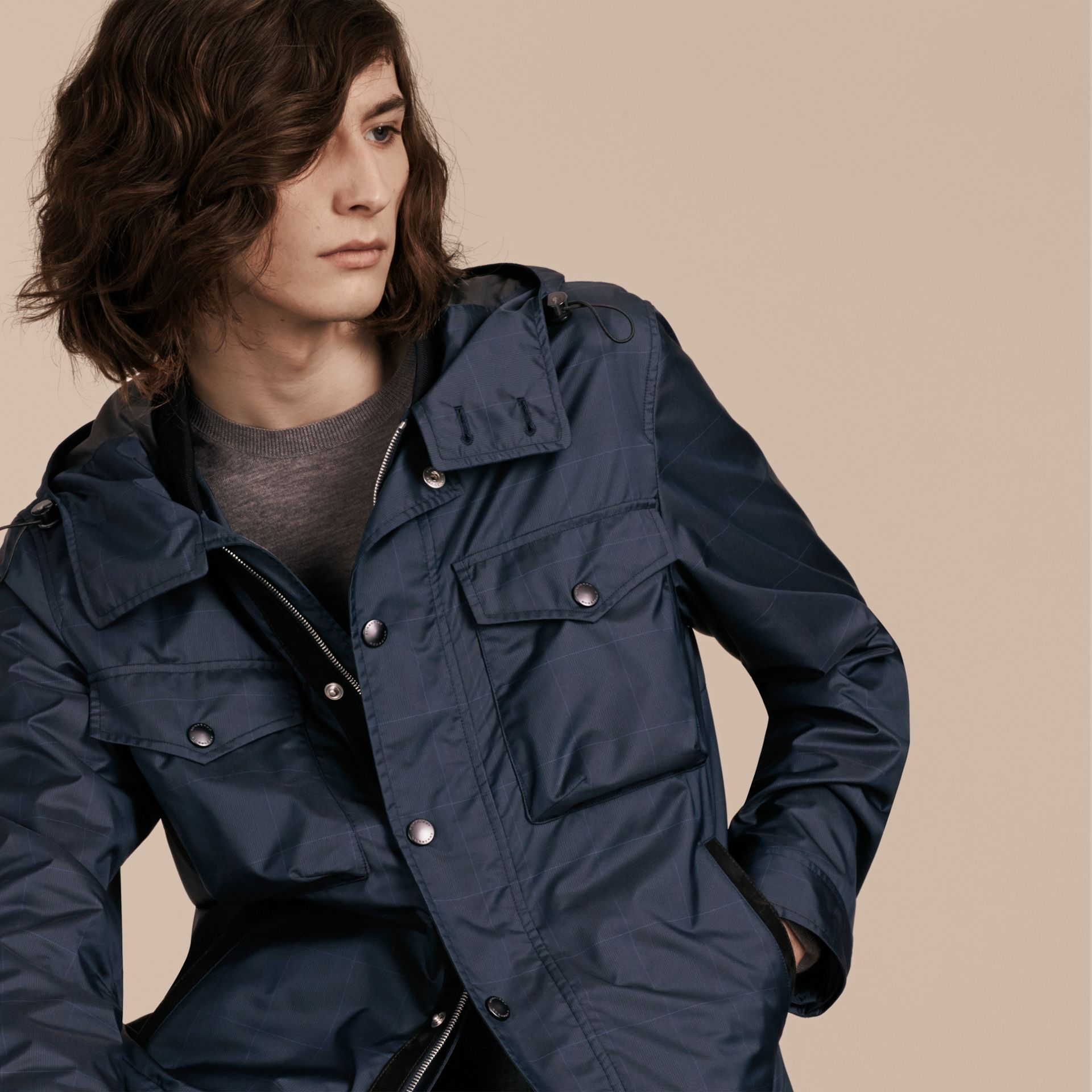 Navy Hooded Technical Jacket with Lambskin Trim - gallery image 6