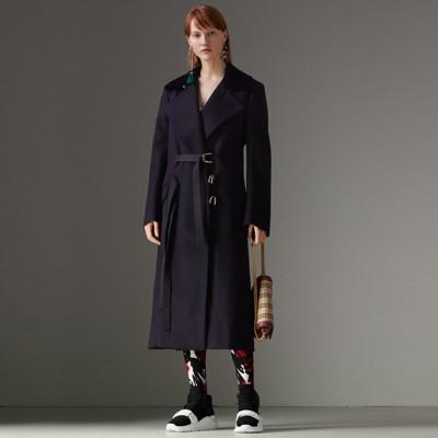 D-Ring Detail Doeskin Wool Coat in Dark Navy