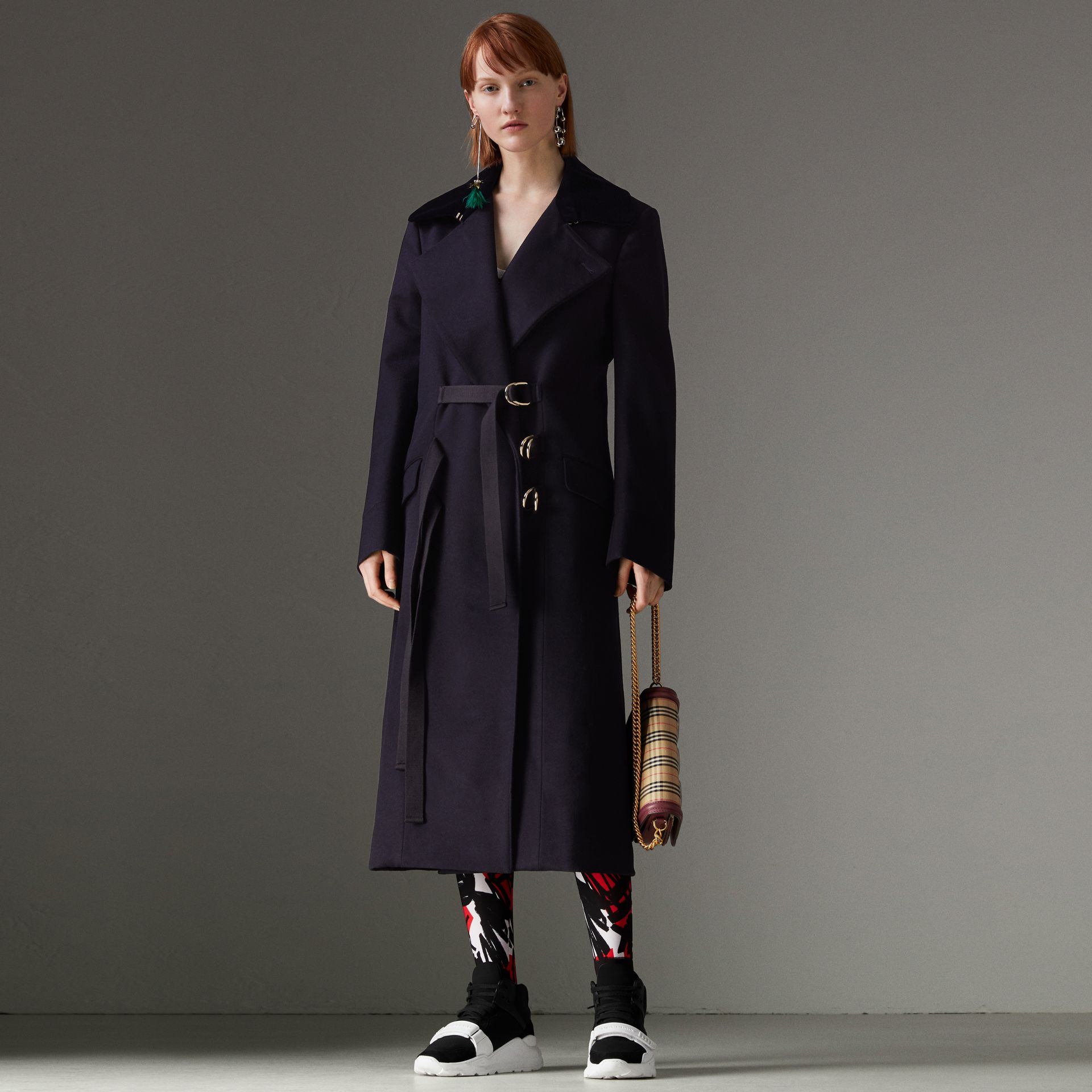 D-ring Detail Doeskin Wool Coat in Dark Navy - Women | Burberry - gallery image 0