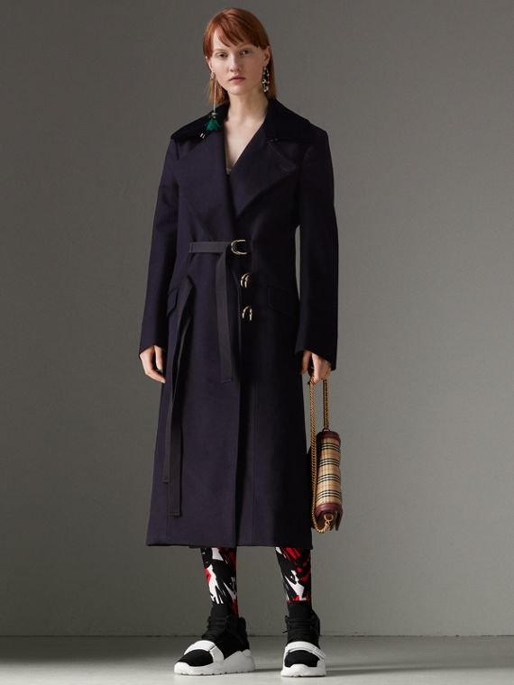 D-ring Detail Doeskin Wool Coat in Dark Navy