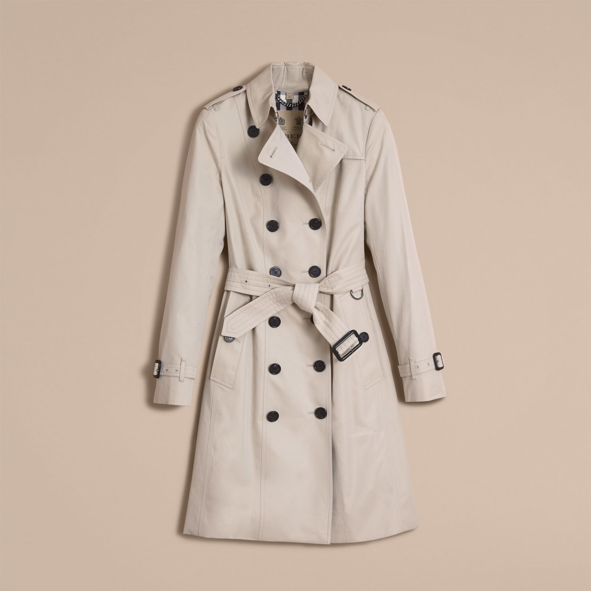 The Sandringham – Long Heritage Trench Coat in Stone - gallery image 4