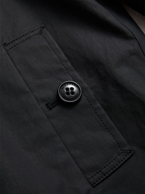 Mercerised Cotton Car Coat in Black | Burberry United States - cell image 1