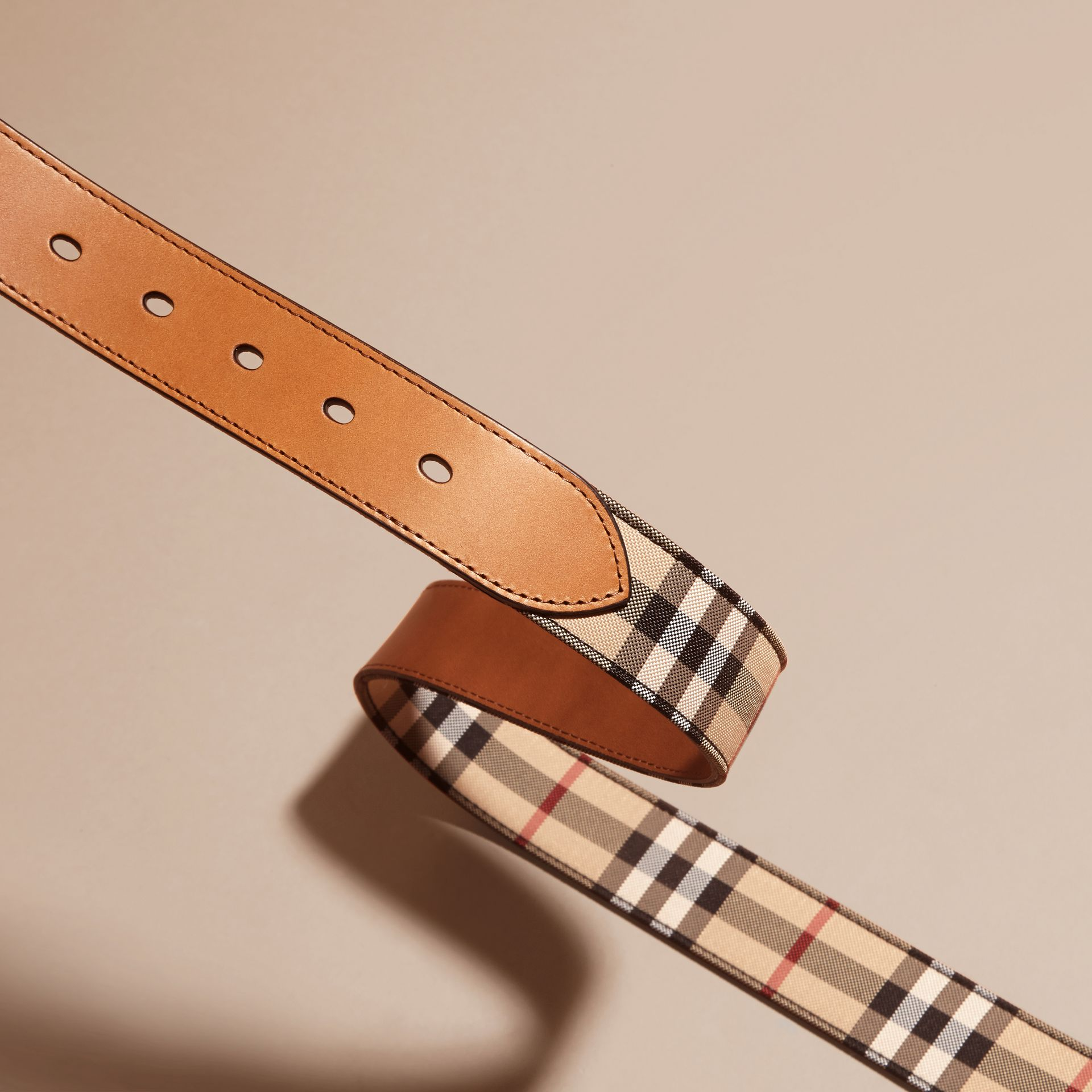 Horseferry Check and Leather Belt in Tan - Men | Burberry Australia - gallery image 3
