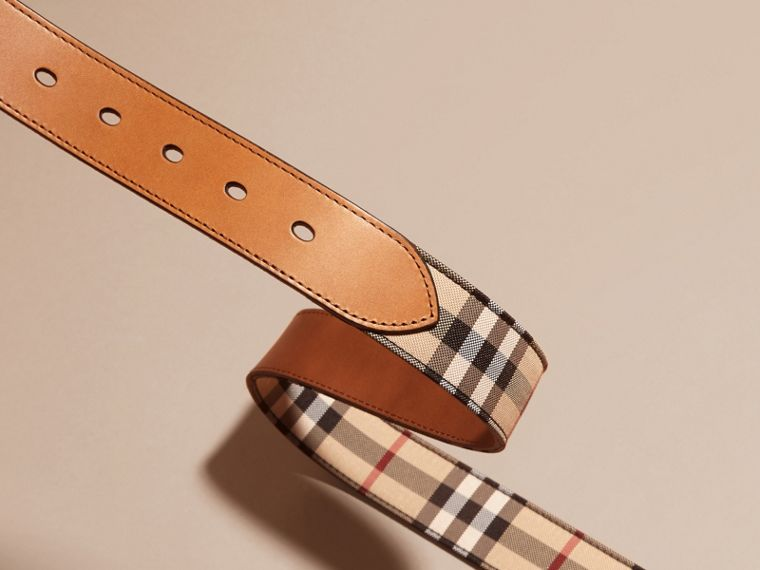 Horseferry Check and Leather Belt in Tan - Men | Burberry Australia - cell image 2