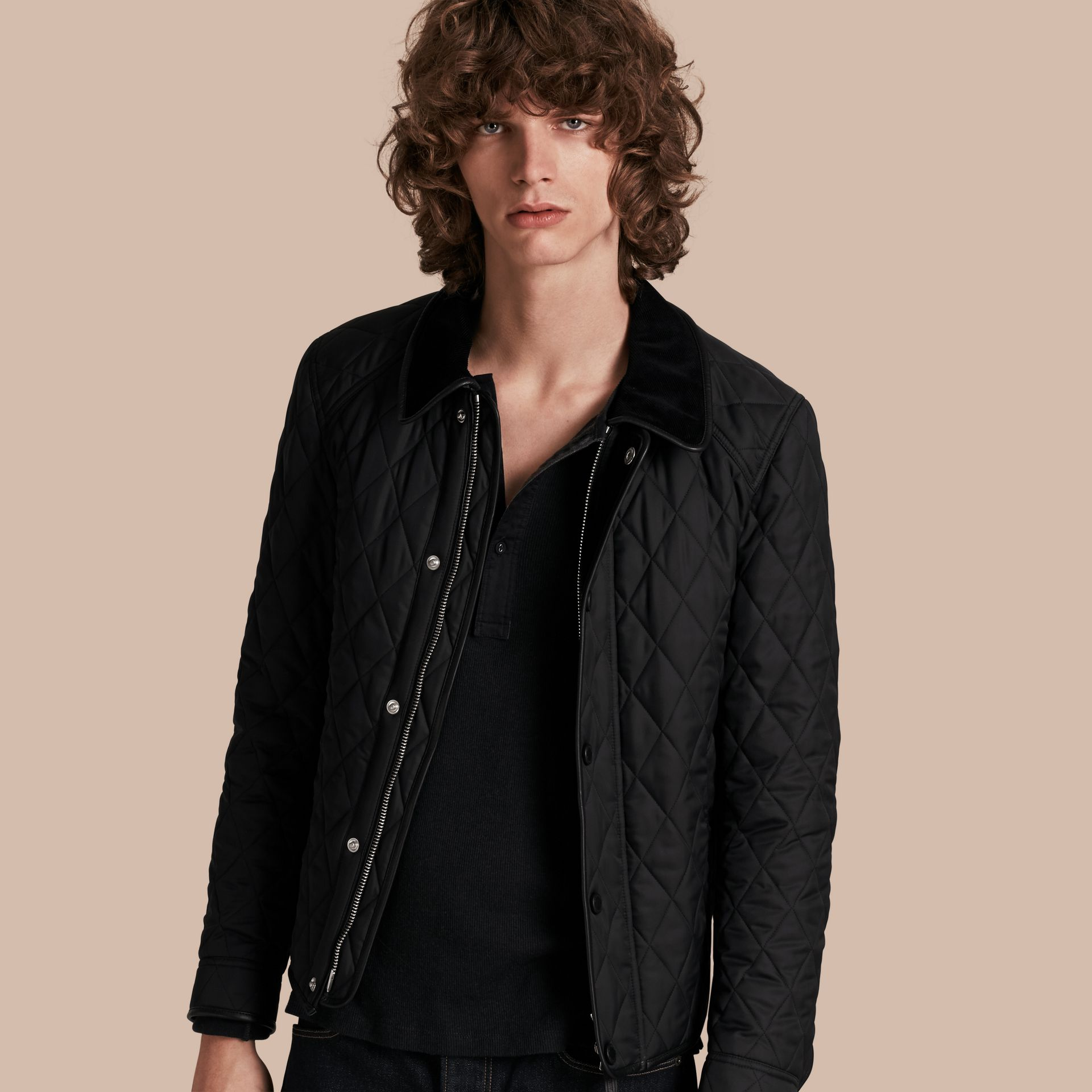 Leather Piping Corduroy Collar Quilted Jacket Black - gallery image 1