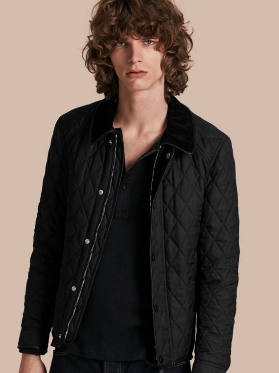 Leather Piping Corduroy Collar Quilted Jacket Black