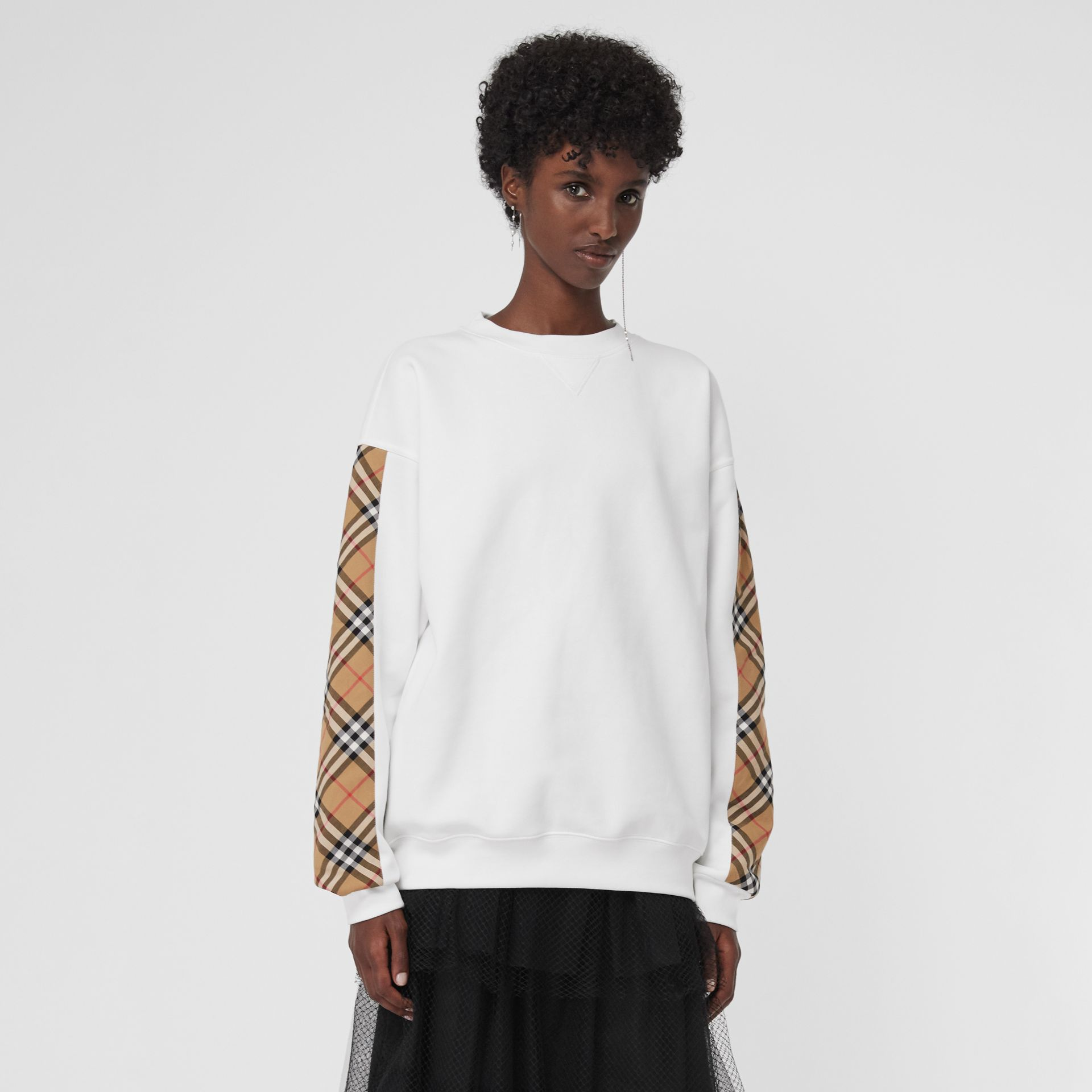 Vintage Check Detail Cotton Blend Sweatshirt in White - Women | Burberry Hong Kong - gallery image 4