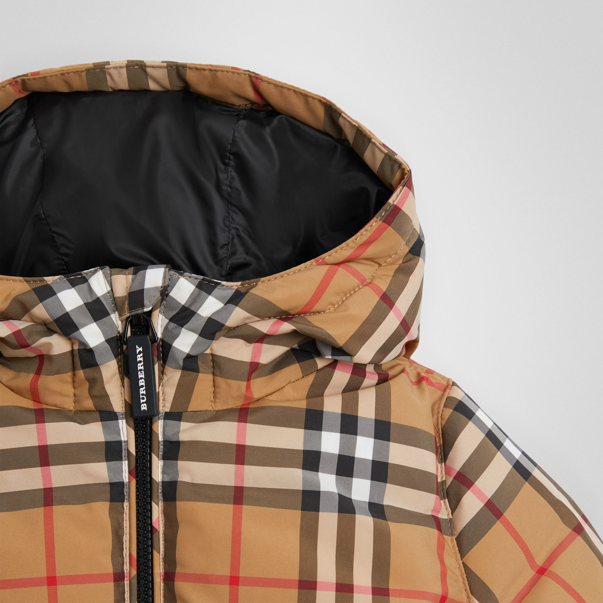 Vintage Check Down-filled Hooded Jacket in Antique Yellow - Children | Burberry - gallery image 4