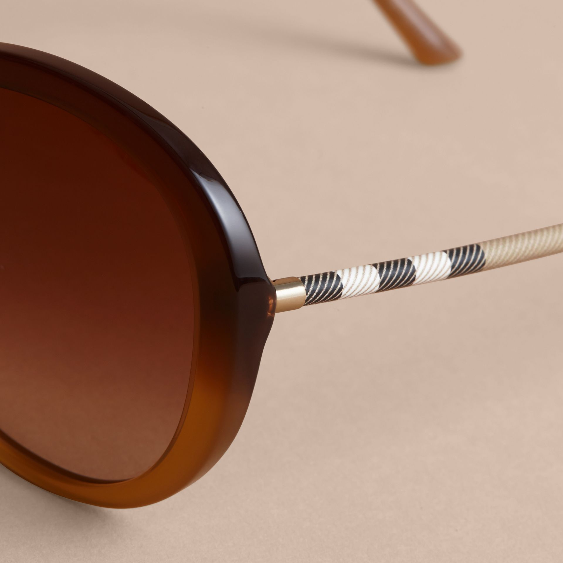 Check Detail Round Frame Sunglasses in Amber - Women | Burberry Hong Kong - gallery image 2