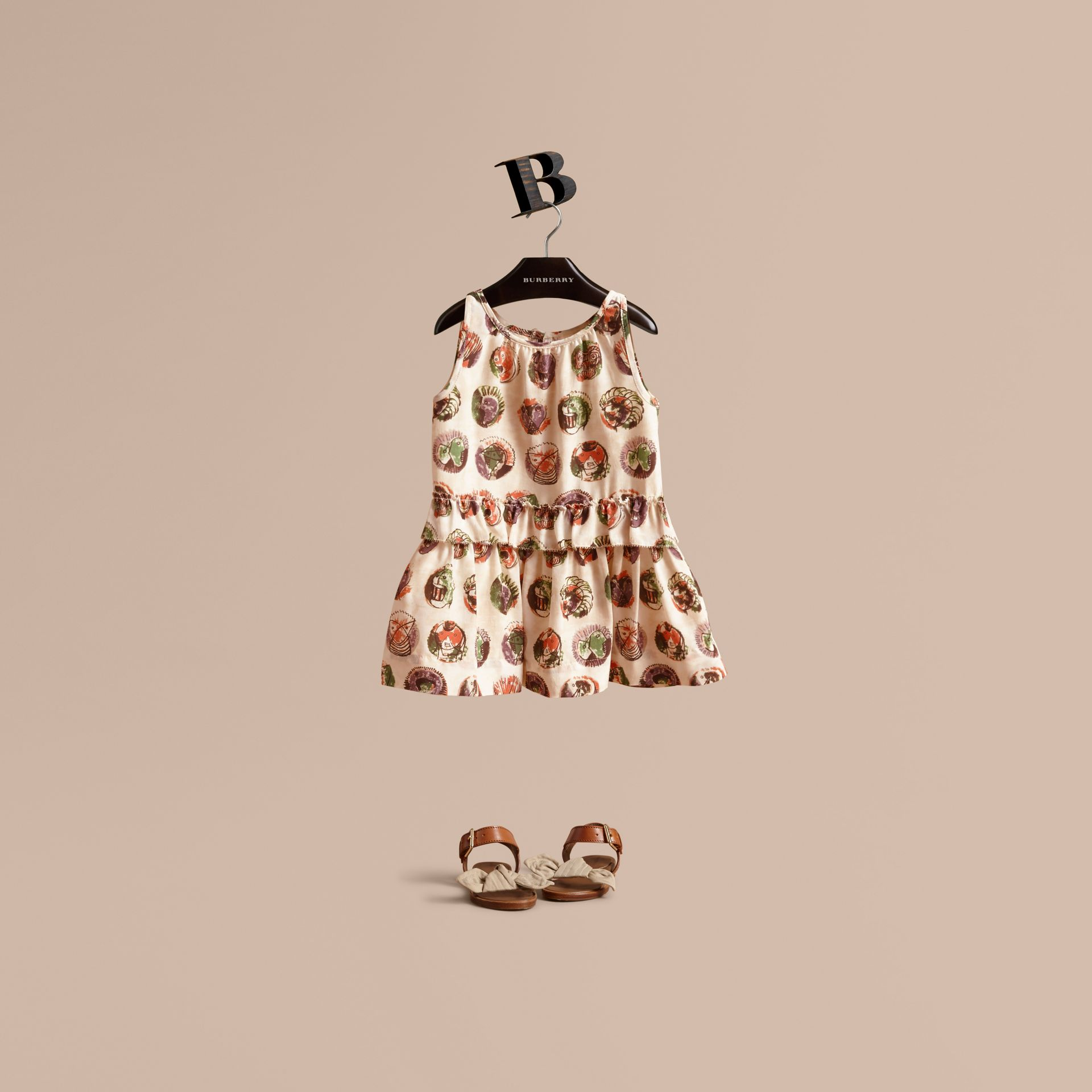 Pallas Heads Print Silk Dress with Ruffle in Natural White | Burberry - gallery image 1