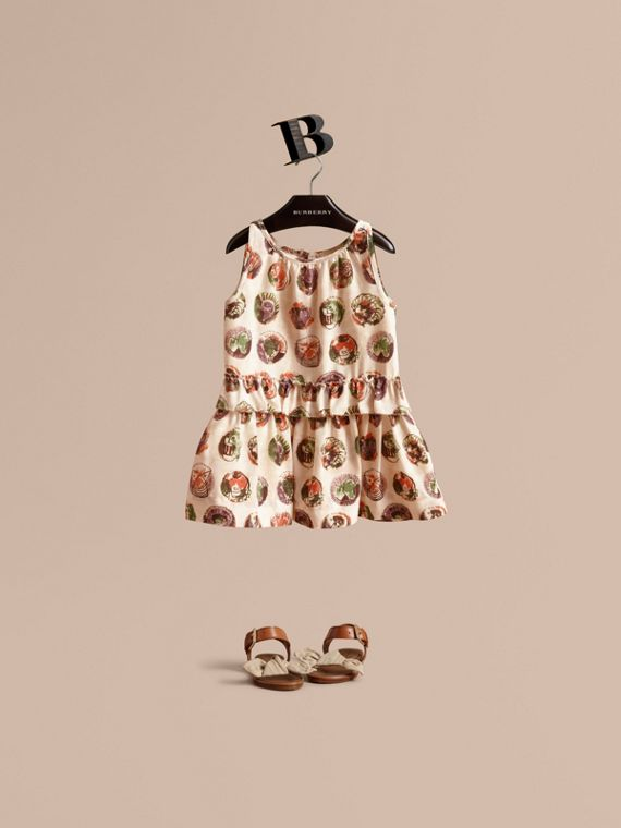 Pallas Heads Print Silk Dress with Ruffle in Natural White