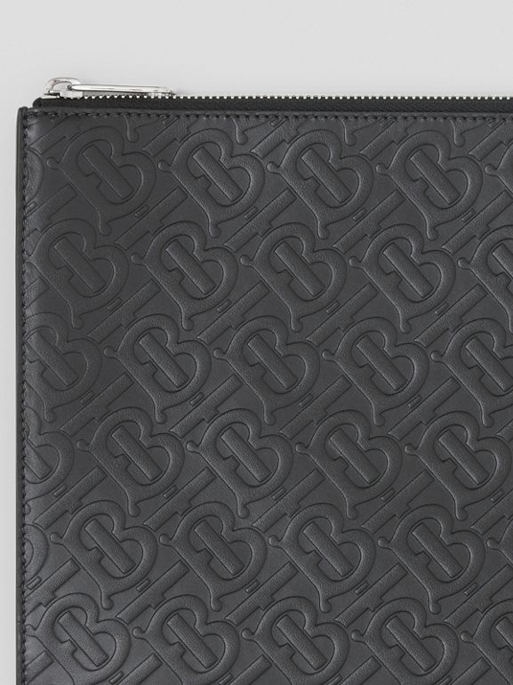 Monogram Leather Zip Pouch in Black | Burberry United Kingdom - cell image 1
