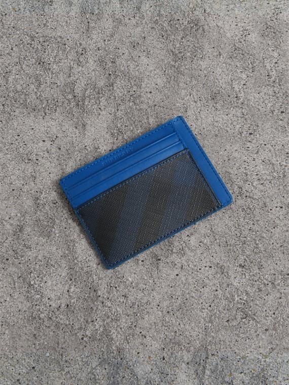 Porte-cartes London check avec éléments en cuir (Marine/bleu)
