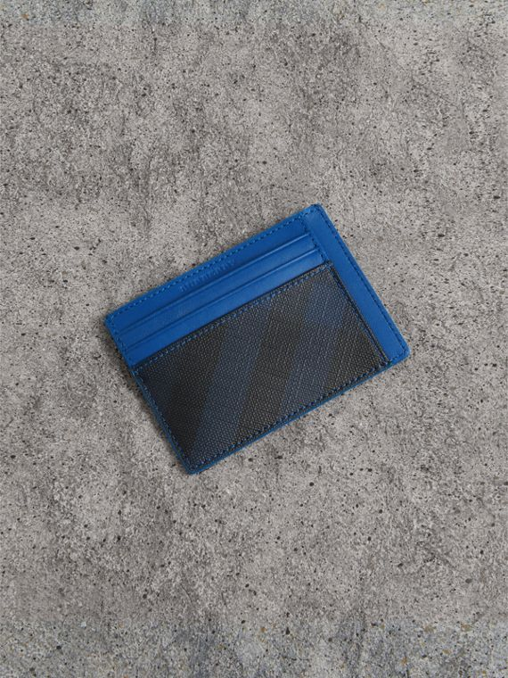 London 格紋與皮革卡片夾 (海軍藍/藍色)