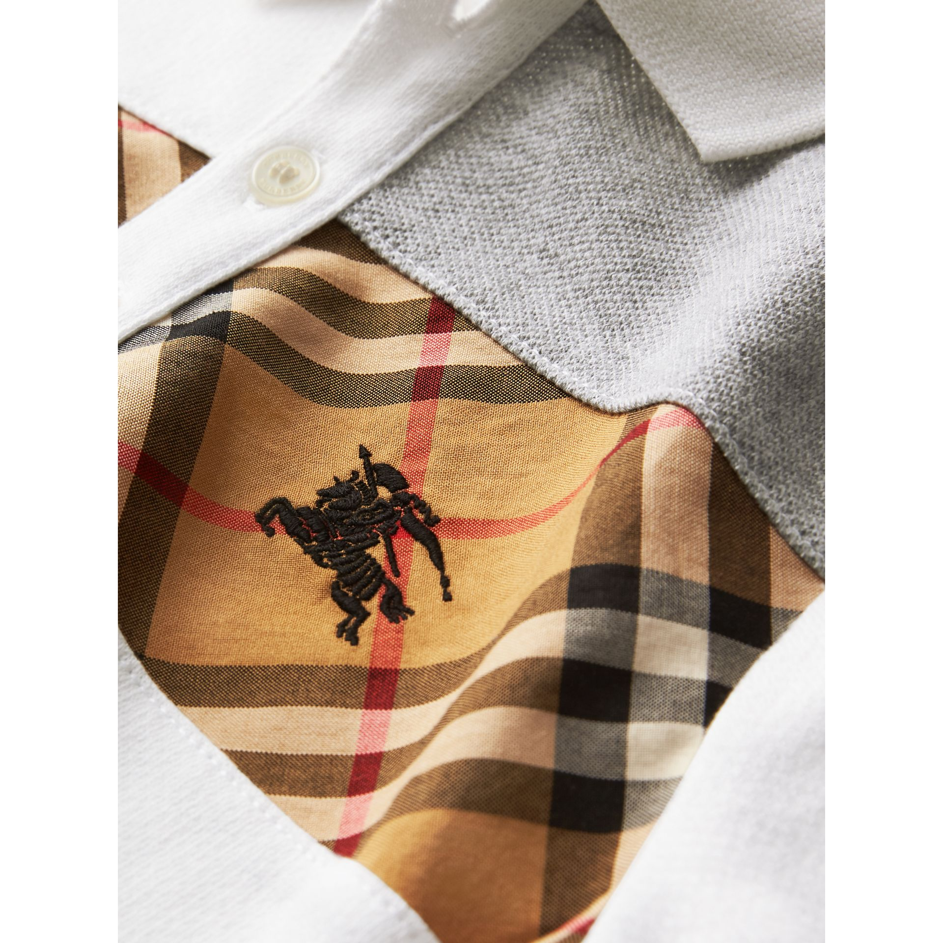 Vintage Check Panel Cotton Polo Shirt in White - Boy | Burberry United Kingdom - gallery image 1