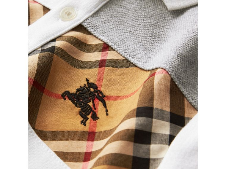 Vintage Check Panel Cotton Polo Shirt in White - Boy | Burberry - cell image 1