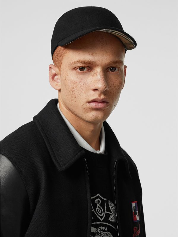 Felted Wool Baseball Cap in Black | Burberry - cell image 3