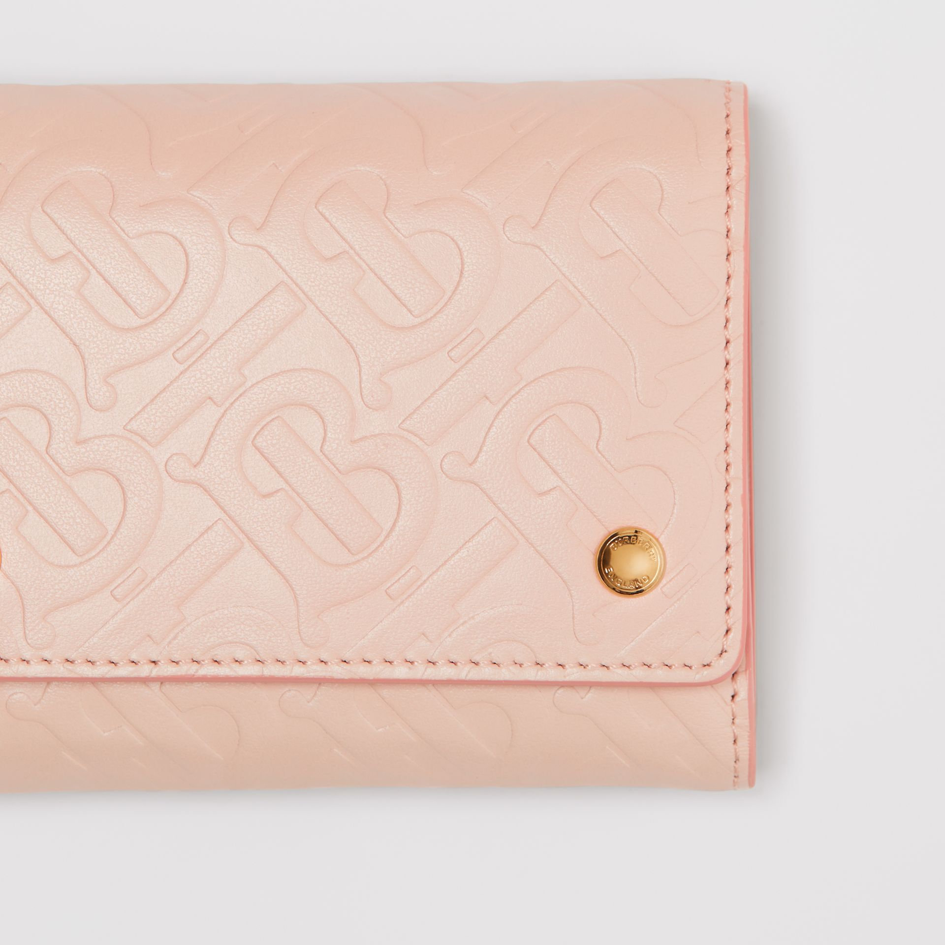 Small Monogram Leather Folding Wallet in Rose Beige - Women | Burberry - gallery image 1