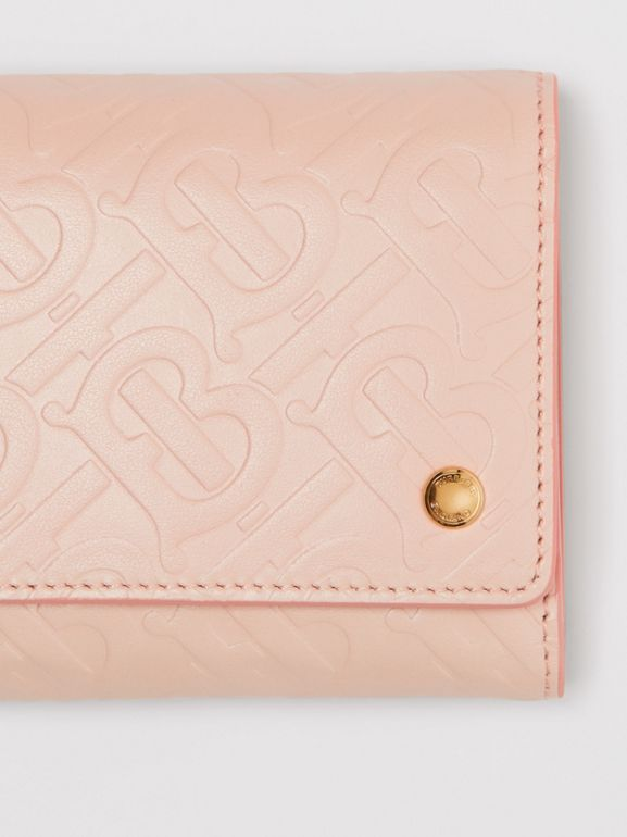 Small Monogram Leather Folding Wallet in Rose Beige - Women | Burberry - cell image 1