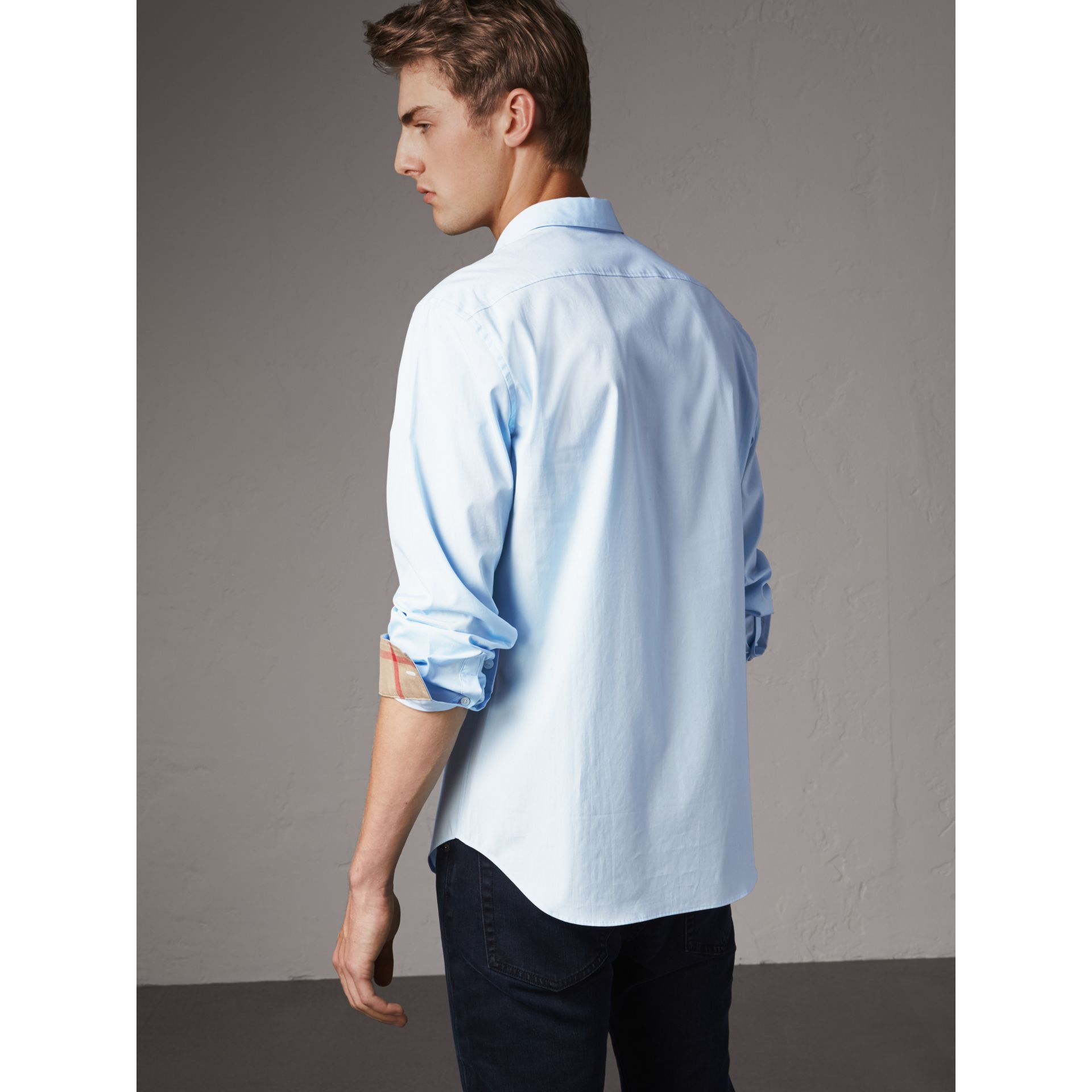 Check Detail Stretch Cotton Poplin Shirt in Pale Blue - Men | Burberry United States - gallery image 2
