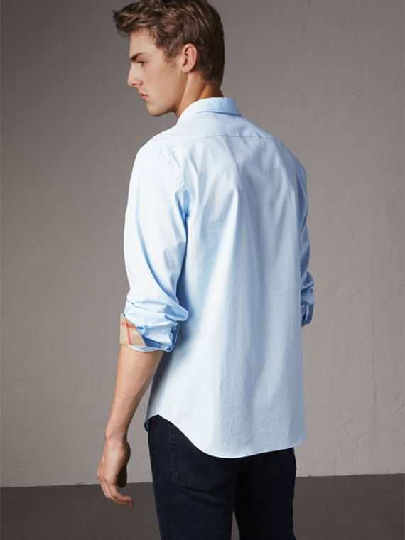 Check Detail Stretch Cotton Poplin Shirt in Pale Blue - Men | Burberry - cell image 2